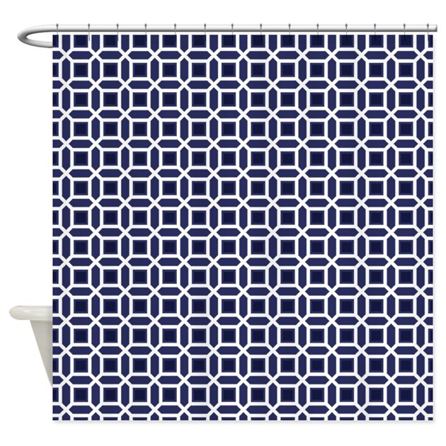 Navy Blue And White Mosaic Pattern Shower Curtain By Cutetoboot