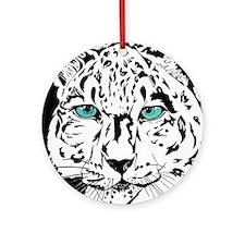 Snow Leopard in Winter Ornament (Round)