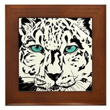 Snow Leopard in Winter Framed Tile