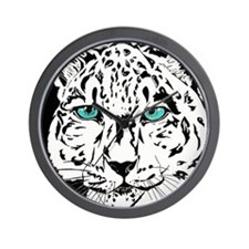 Snow Leopard in Winter Wall Clock