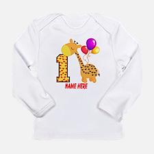 1st Birthday Giraffe Cu Long Sleeve Infant T-Shirt