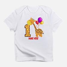1st Birthday Giraffe Custom Infant T-Shirt