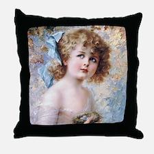 Girl & Bird's Nest, Vernon Throw Pillow