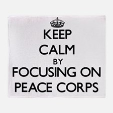 Keep Calm by focusing on Peace Corps Throw Blanket