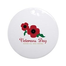Veterans Day Honor Flowers Ornament (Round)
