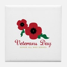 Veterans Day Honor Flowers Tile Coaster