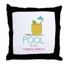 The Pool Is My Happy Place Throw Pillow