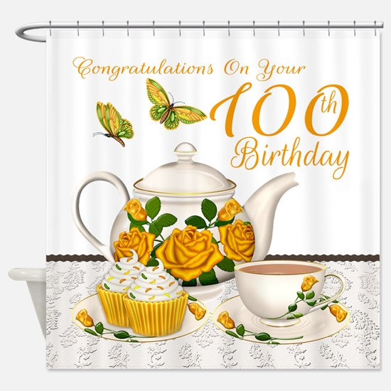 Yellow Rose Tea Set 100th Birthday Shower Curtain