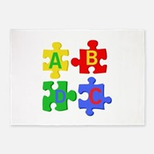 Puzzle Letters 5'x7'Area Rug