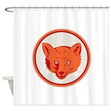 Red Fox Head Front Circle Retro Shower Curtain