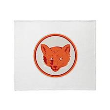 Red Fox Head Front Circle Retro Throw Blanket