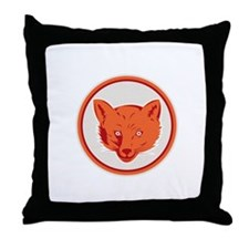 Red Fox Head Front Circle Retro Throw Pillow
