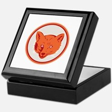 Red Fox Head Front Circle Retro Keepsake Box