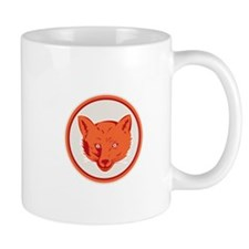 Red Fox Head Front Circle Retro Mugs