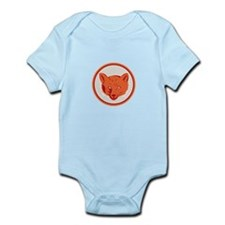 Red Fox Head Front Circle Retro Body Suit