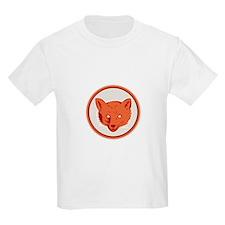 Red Fox Head Front Circle Retro T-Shirt