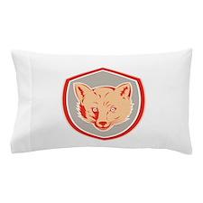 Red Fox Head Front Shield Retro Pillow Case