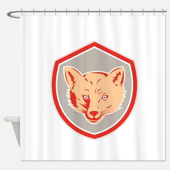 Red Fox Head Front Shield Retro Shower Curtain