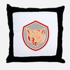 Red Fox Head Front Shield Retro Throw Pillow