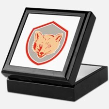 Red Fox Head Front Shield Retro Keepsake Box