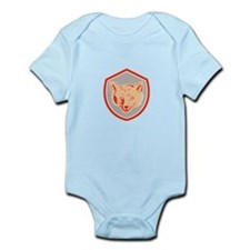 Red Fox Head Front Shield Retro Body Suit