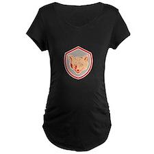 Red Fox Head Front Shield Retro Maternity T-Shirt
