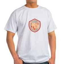Red Fox Head Front Shield Retro T-Shirt