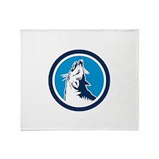 Red Fox Head Howling Circle Retro Throw Blanket