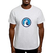 Red Fox Head Howling Circle Retro T-Shirt