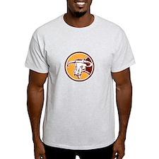 Angry Texas Longhorn Bull Head Woodcut T-Shirt