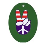 Patriotic Peace Hand (Christmas Ornament)