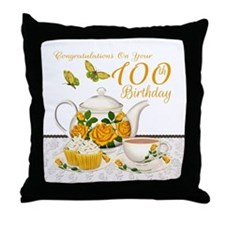 100th Birthday Yellow Rose Tea Set Throw Pillow