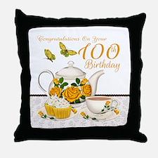 100th Birthday Yellow Rose Tea Set Throw Pillow