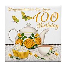 100th Birthday Yellow Rose Tea Set Tile Coaster