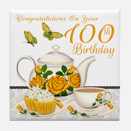 100th Birthday Yellow Rose Tea Set Tile Coaster