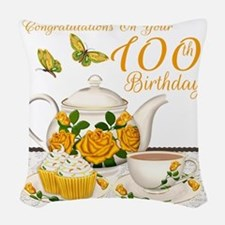 100th Birthday Yellow Rose Tea Woven Throw Pillow