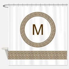 Greek Key Design Monogram Shower Curtain