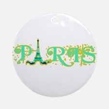 Paris w Eiffel Tower Ornament (Round)