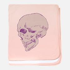 Purple Pop Skull baby blanket
