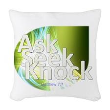 Ask, Seek, Knock Woven Throw Pillow