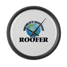 World's Hottest Roofer Large Wall Clock