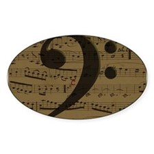 Musical Bass Clef sheet music Decal