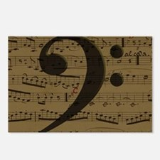 Musical Bass Clef sheet music Postcards (Package o