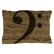 Musical Bass Clef sheet music Pillow Case