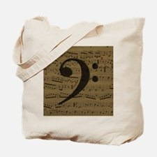 Musical Bass Clef sheet music Tote Bag