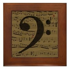 Musical Bass Clef sheet music Framed Tile