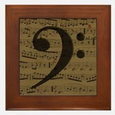 Musical Bass Clef sheet music Framed Tile