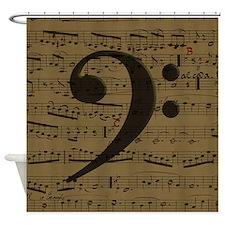 Musical Bass Clef sheet music Shower Curtain