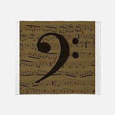 Musical Bass Clef sheet music Throw Blanket