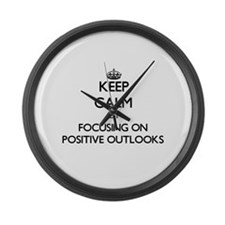 Keep Calm by focusing on Positive Large Wall Clock